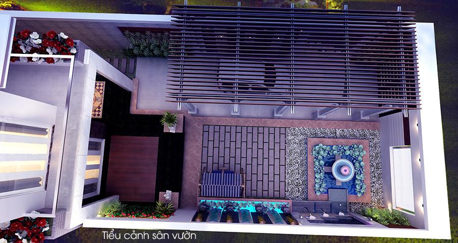 trang tri san vuon dep 5 Bản vẽ biệt thự 3 tầng kiểu Pháp 7x17m có sân vườn hồ bơi tiện nghi ở Tiền Giang