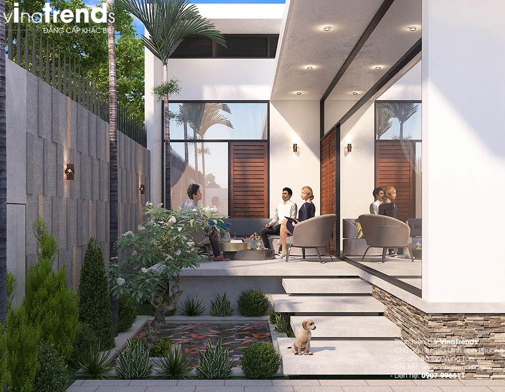 mau nha biet thu san vuon 1 tang co tieu canh dep Biệt thự nhà vườn 1 tầng hiện đại 10x18m đẹp như ở Hàn Quốc giữ lòng Biên Hòa