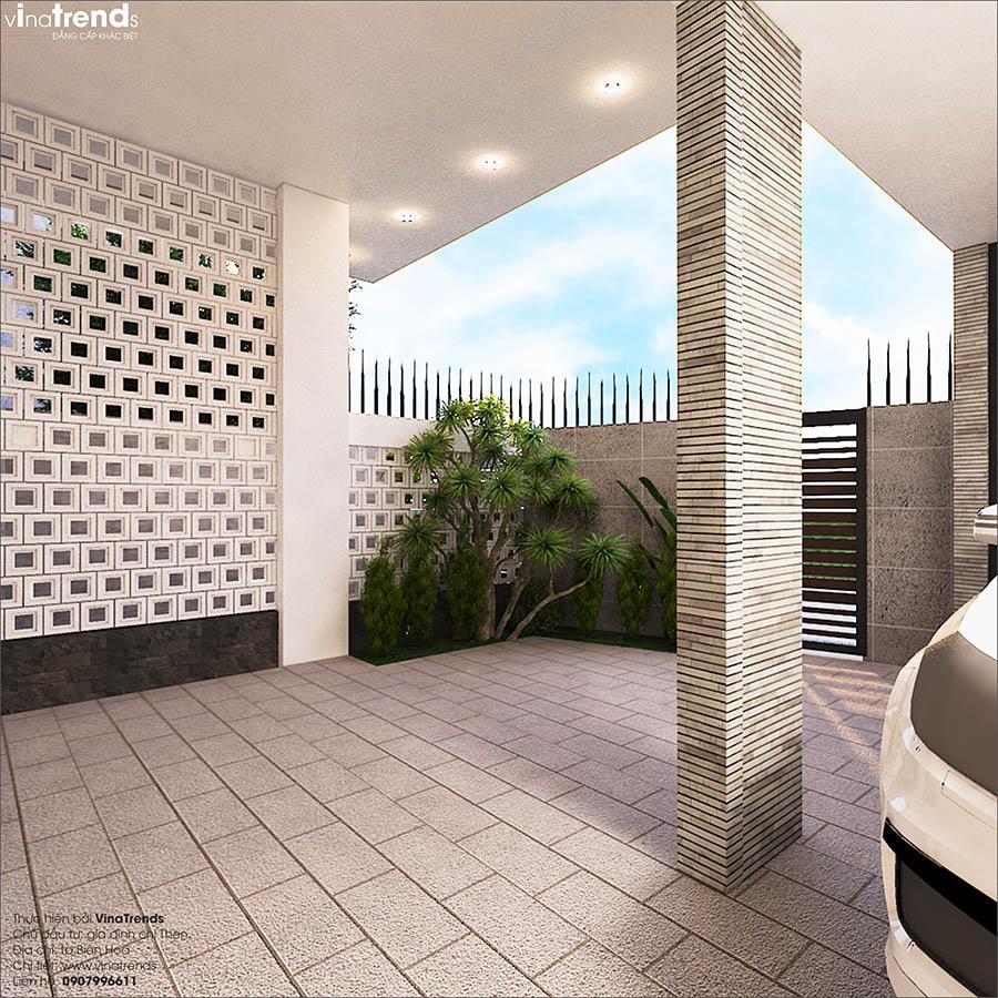 gara o to truoc nha don gian dep 2 Mẫu nhà biệt thự 3 tầng đẹp 9x16m lấy mái gara làm ban công được khen ngợi rần rần