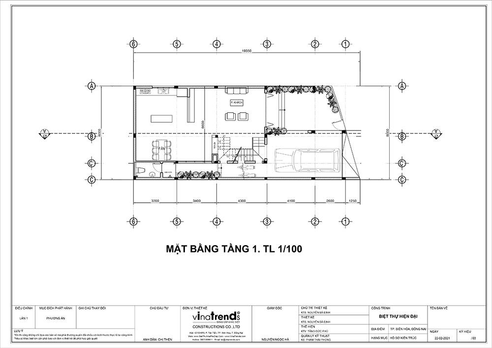 mat bang tang 1 biet thu 3 tang hien dai dep Mẫu nhà biệt thự 3 tầng đẹp 9x16m lấy mái gara làm ban công được khen ngợi rần rần