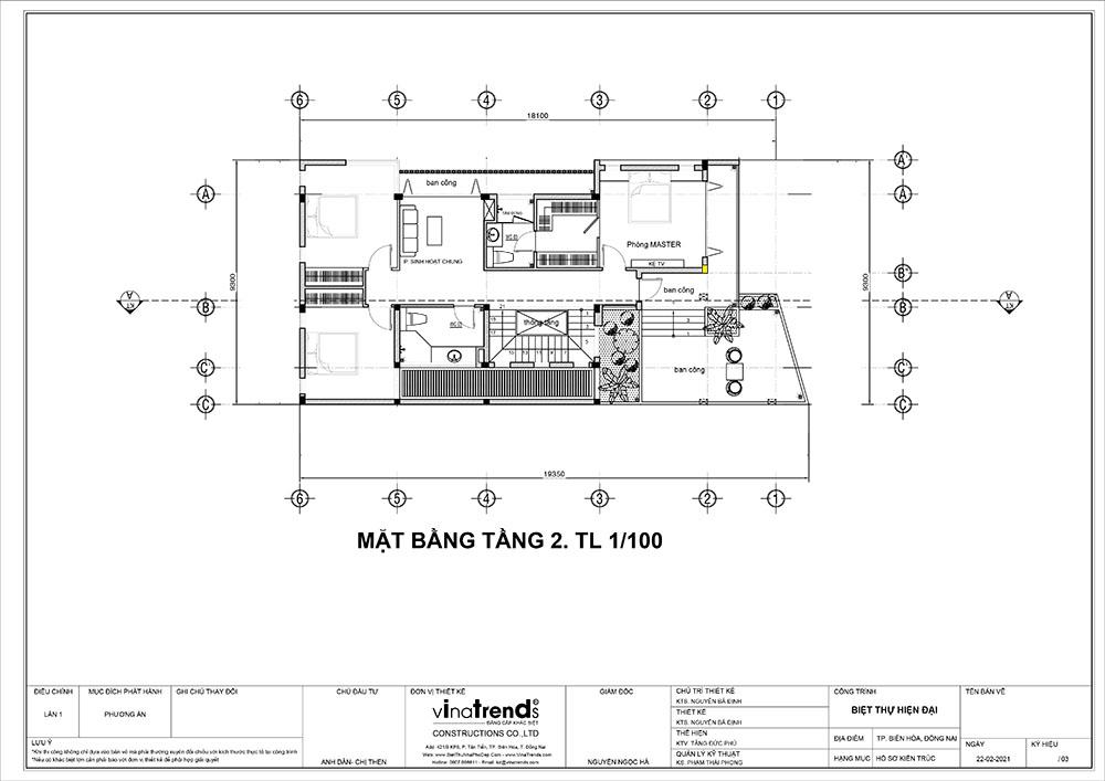 mat bang tang 2 biet thu 3 tang hien dai dep Mẫu nhà biệt thự 3 tầng đẹp 9x16m lấy mái gara làm ban công được khen ngợi rần rần