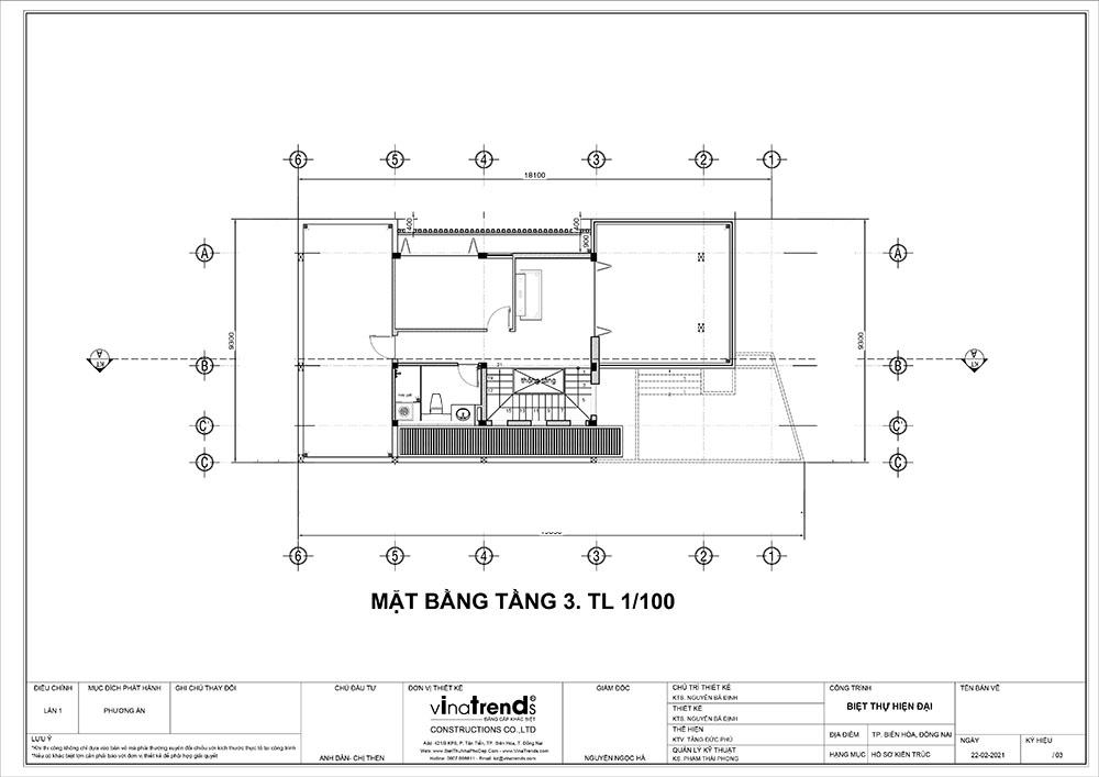 mat bang tang 3 biet thu 3 tang hien dai dep Mẫu nhà biệt thự 3 tầng đẹp 9x16m lấy mái gara làm ban công được khen ngợi rần rần
