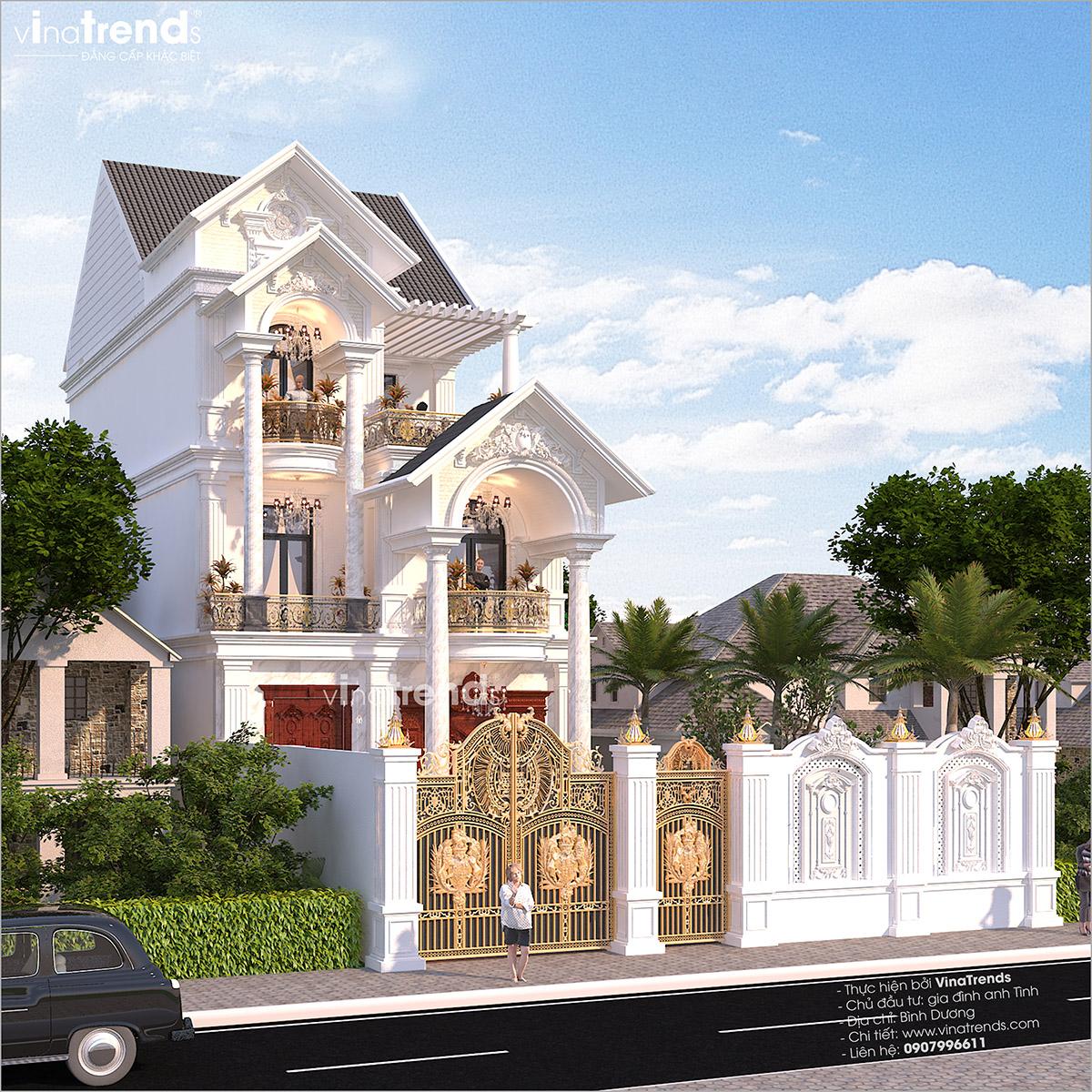 mau biet thu mai thai 3 tang dep Mẫu nhà biệt thự cổ điển  mái thái 3 tầng 7mx17,6m hút gió & ánh sáng tính toán tài tình