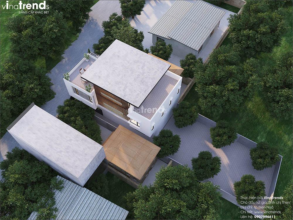 mau nha 3 tang hien dai mai bang dep Mẫu nhà biệt thự 3 tầng đẹp 9x16m lấy mái gara làm ban công được khen ngợi rần rần