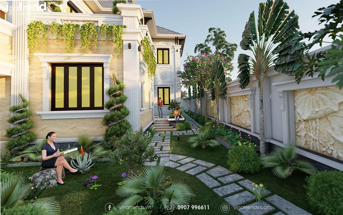 biet thu san vuon 2 tang dep Mẫu biệt thự sân vườn 2 tầng 11x19m ở nông thôn mà thành thị mê mẫn