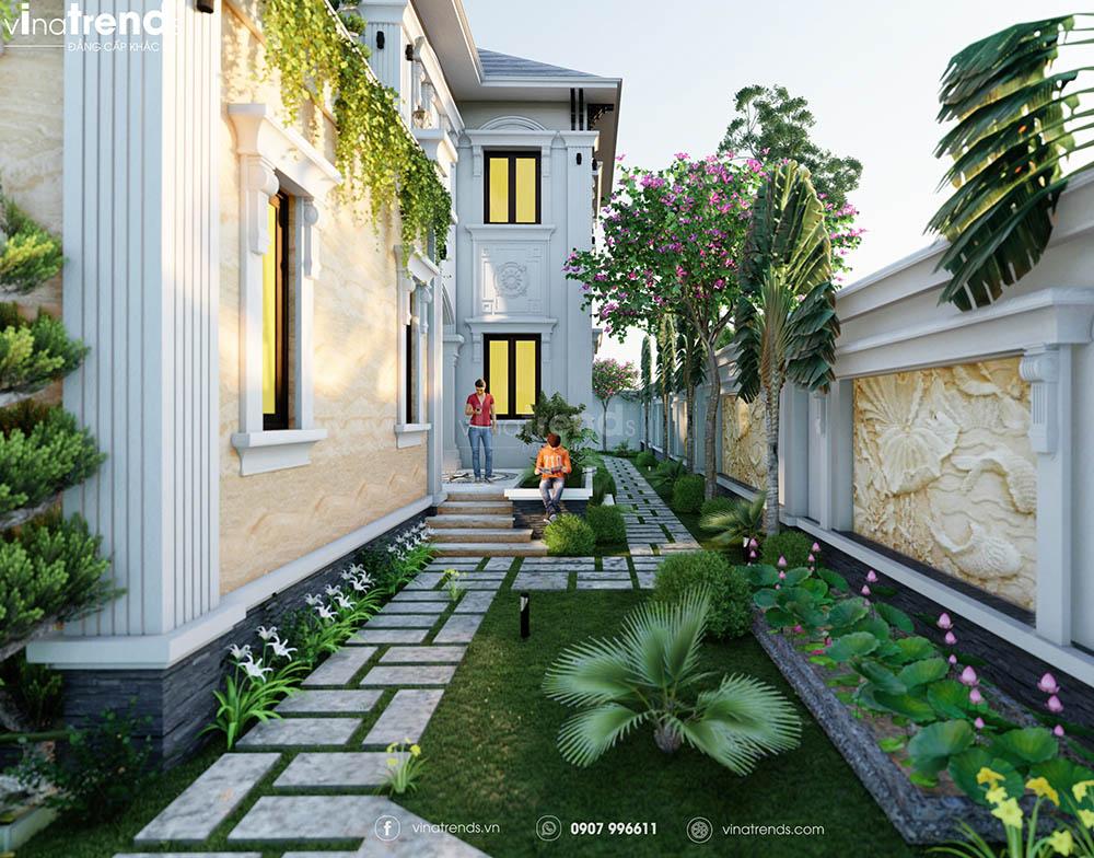 biet thu thiet ke san vuon dep Mẫu biệt thự sân vườn 2 tầng 11x19m ở nông thôn mà thành thị mê mẫn
