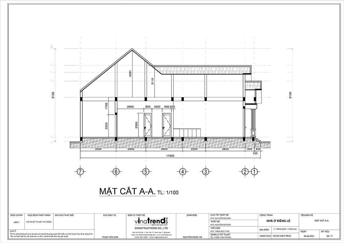 mat bang nha 1 tang Mẫu nhà 1 tầng 3 phòng ngủ mái thái 10x20m cao 9m mát tiện nghi cho người cao tuổi