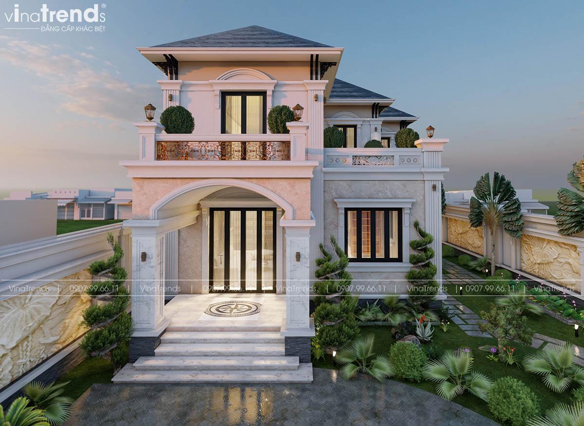 mau biet thu 2 tang tan co dien phap dep 20 mẫu biệt thự 2 tầng đẹp mê hồn theo thời gian   BST301214A