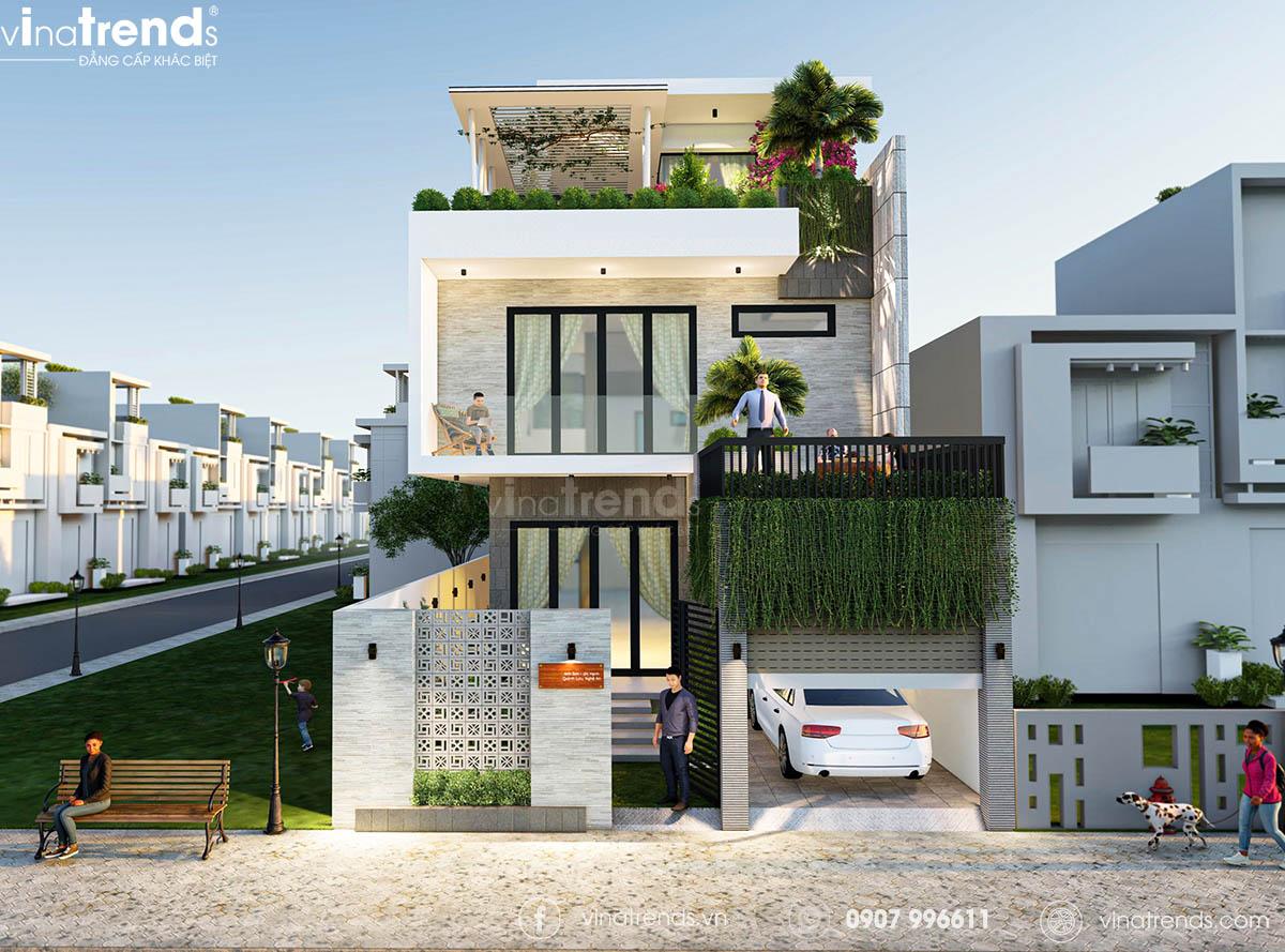 mau biet thu 3 tang hien dai co san vuon dep mat Làm sao mẫu biệt thự hiện đại 3 tầng đẹp nhất KDC này nha em | 126m2, Nghệ An