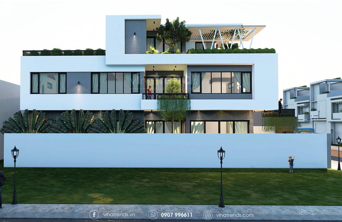 mau biet thu 3 tang mai bang hien dai dep 1 Làm sao mẫu biệt thự hiện đại 3 tầng đẹp nhất KDC này nha em | 126m2, Nghệ An