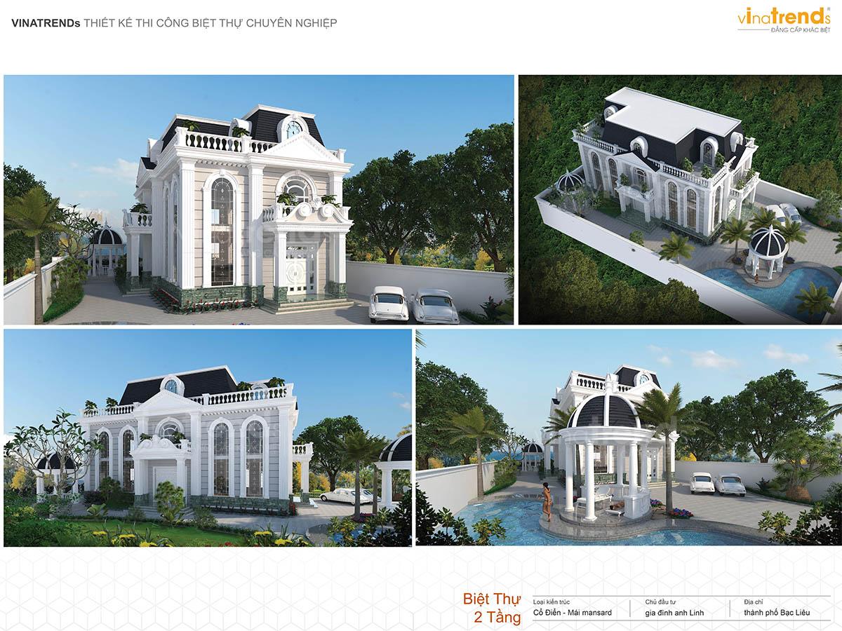 mau biet thu co dien 2 tang san vuon dep profile vinatrends Những mẫu biệt thự kiểu Pháp đẹp mới lạ nhất Việt Nam   BTP191114A