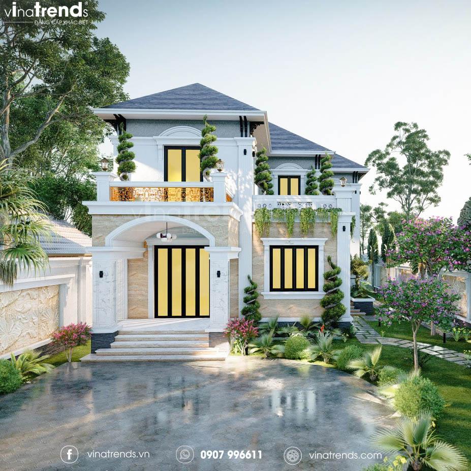 mau nha 2 tang san vuon dep Những mẫu biệt thự kiểu Pháp đẹp mới lạ nhất Việt Nam   BTP191114A