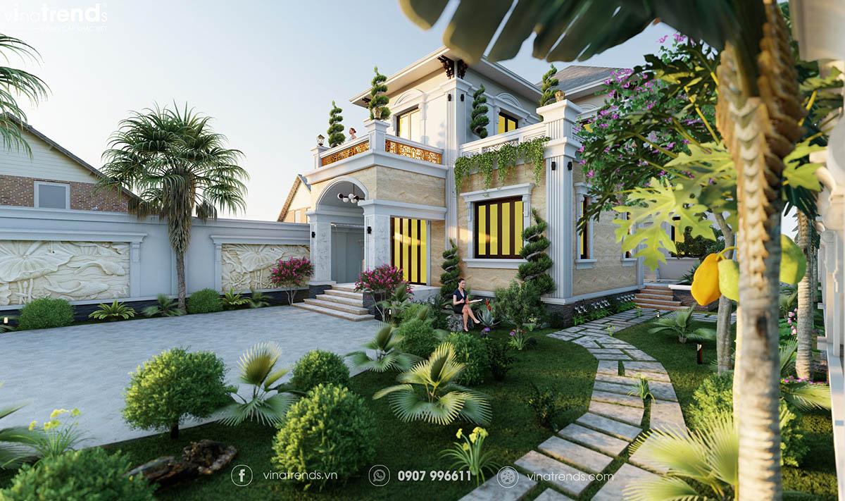 mau nha biet thu 2 tang san vuon dep nhat Những mẫu biệt thự kiểu Pháp đẹp mới lạ nhất Việt Nam   BTP191114A