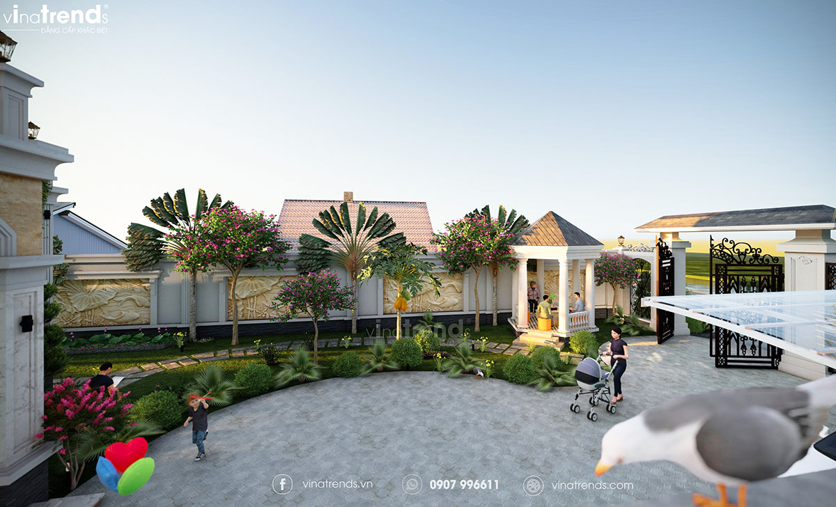 tieu canh san vuon biet thu dep Mẫu biệt thự sân vườn 2 tầng 11x19m ở nông thôn mà thành thị mê mẫn