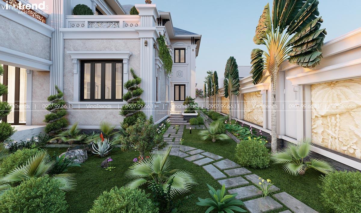 hinh anh san vuon biet thu dep Mẫu biệt thự sân vườn 2 tầng 11x19m ở nông thôn mà người thành thị mê mẫn