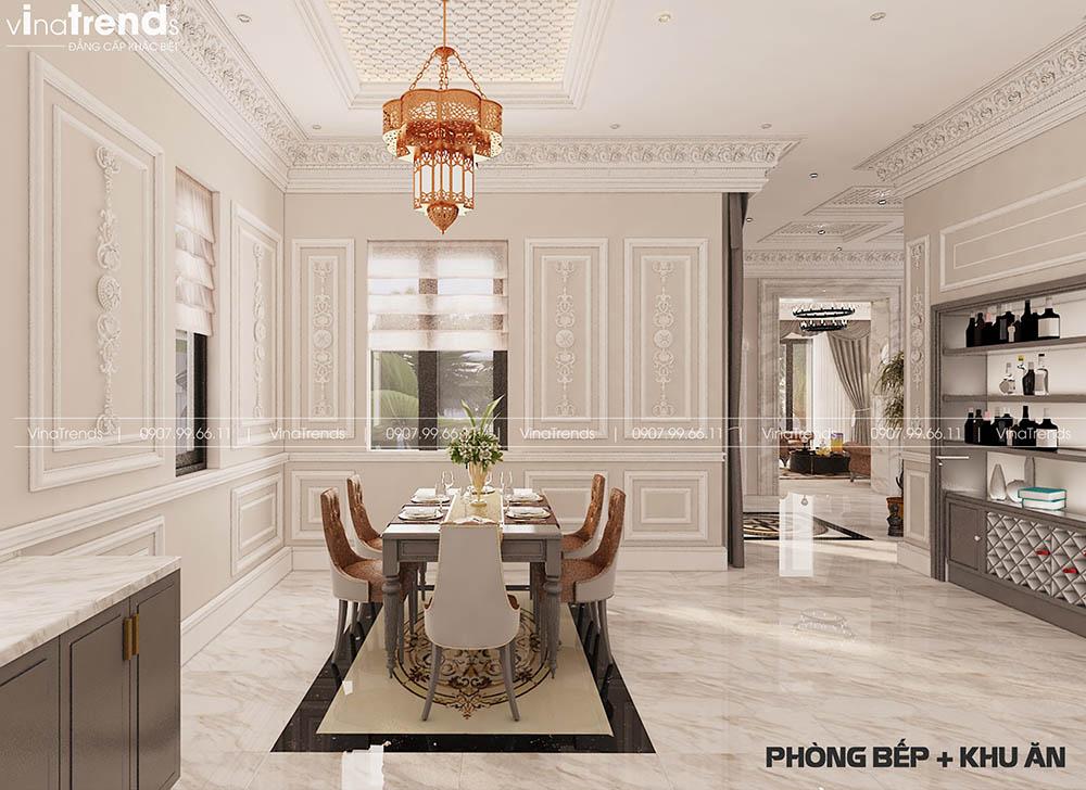 mau phong bep va an co dien dep Mẫu biệt thự 2 tầng nhà vườn rộng 750m2 kiểu nông thôn Pháp đẹp từ cổng đến sau nhà ở Đồng Nai