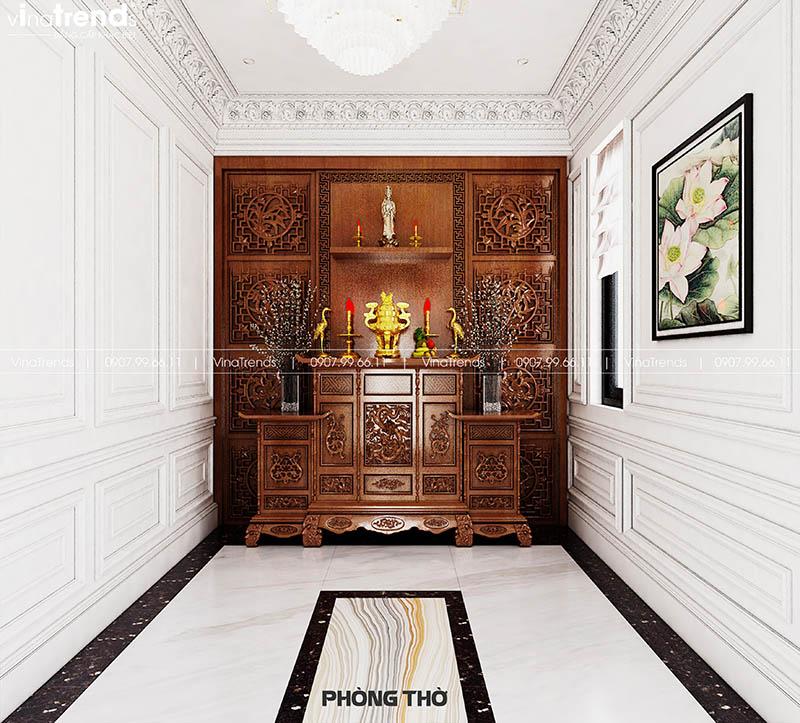 mau phong tho go dep Mẫu biệt thự 2 tầng nhà vườn rộng 750m2 kiểu nông thôn Pháp đẹp từ cổng đến sau nhà ở Đồng Nai