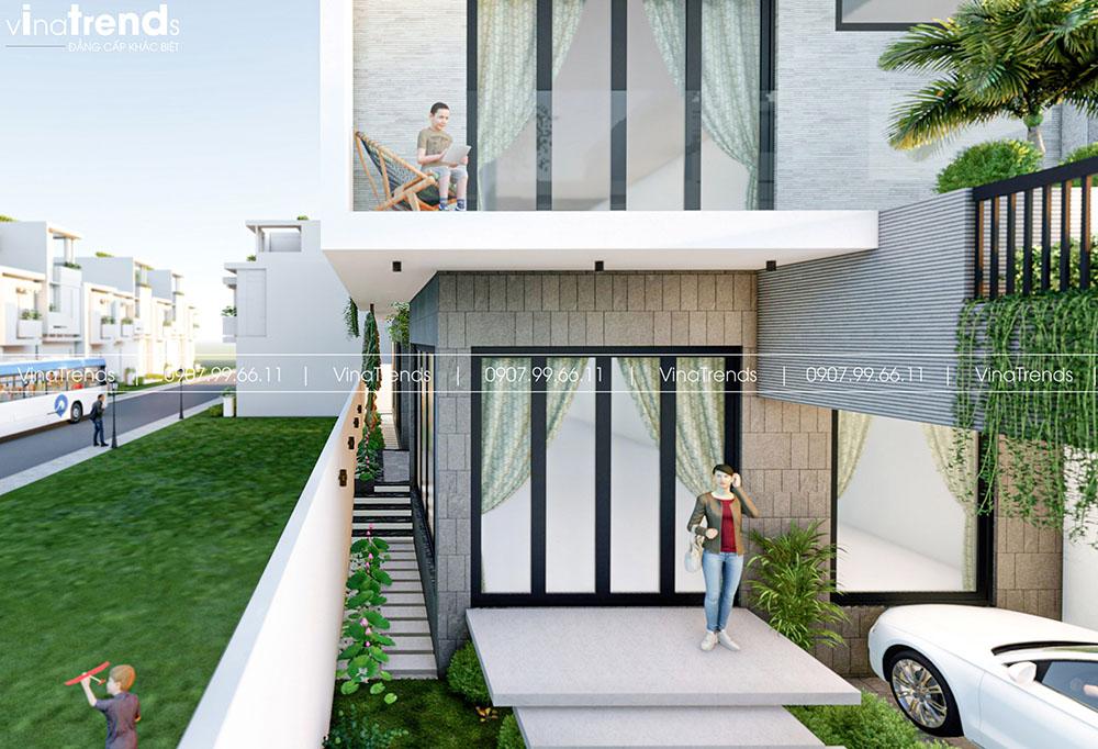 san vuon nha pho dep Làm sao mẫu biệt thự hiện đại 3 tầng đẹp nhất KDC này nha em | 126m2, Nghệ An