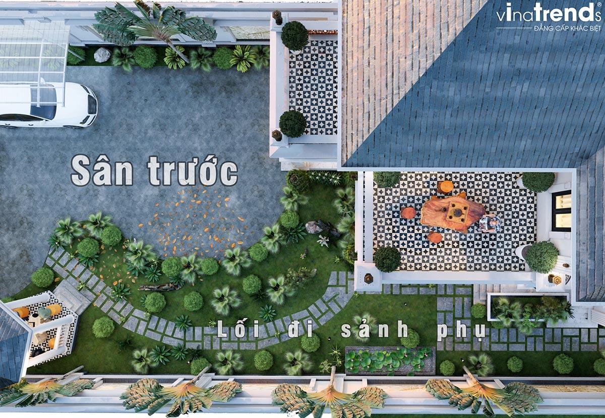 san vuon truoc biet thu dep nhat Mẫu biệt thự sân vườn 2 tầng 11x19m ở nông thôn mà người thành thị mê mẫn