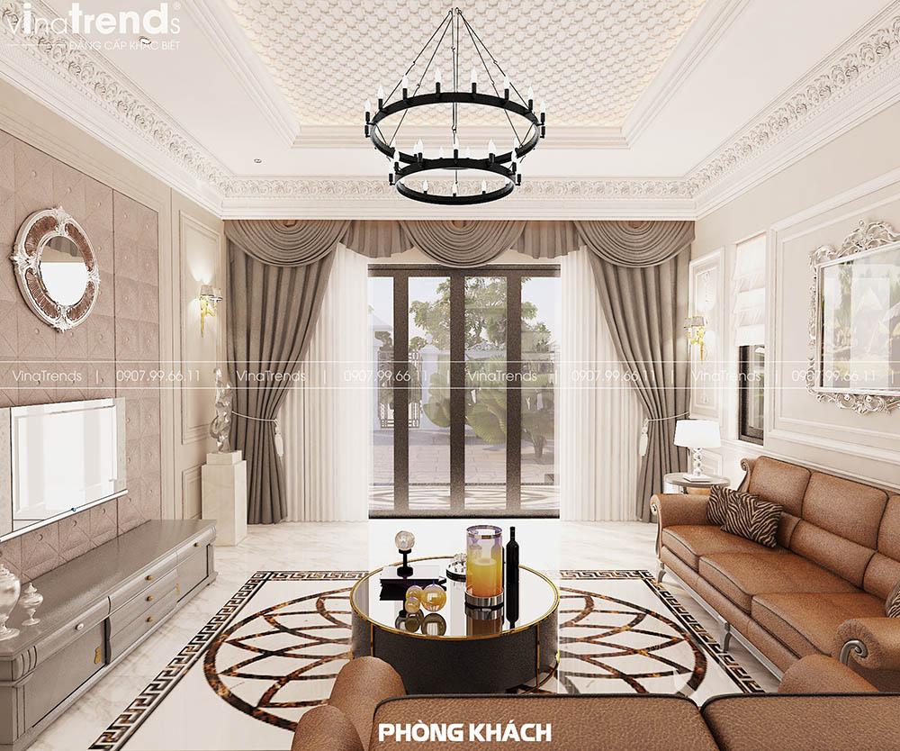 thiet ke phong khach dep Mẫu biệt thự 2 tầng nhà vườn rộng 750m2 kiểu nông thôn Pháp đẹp từ cổng đến sau nhà ở Đồng Nai