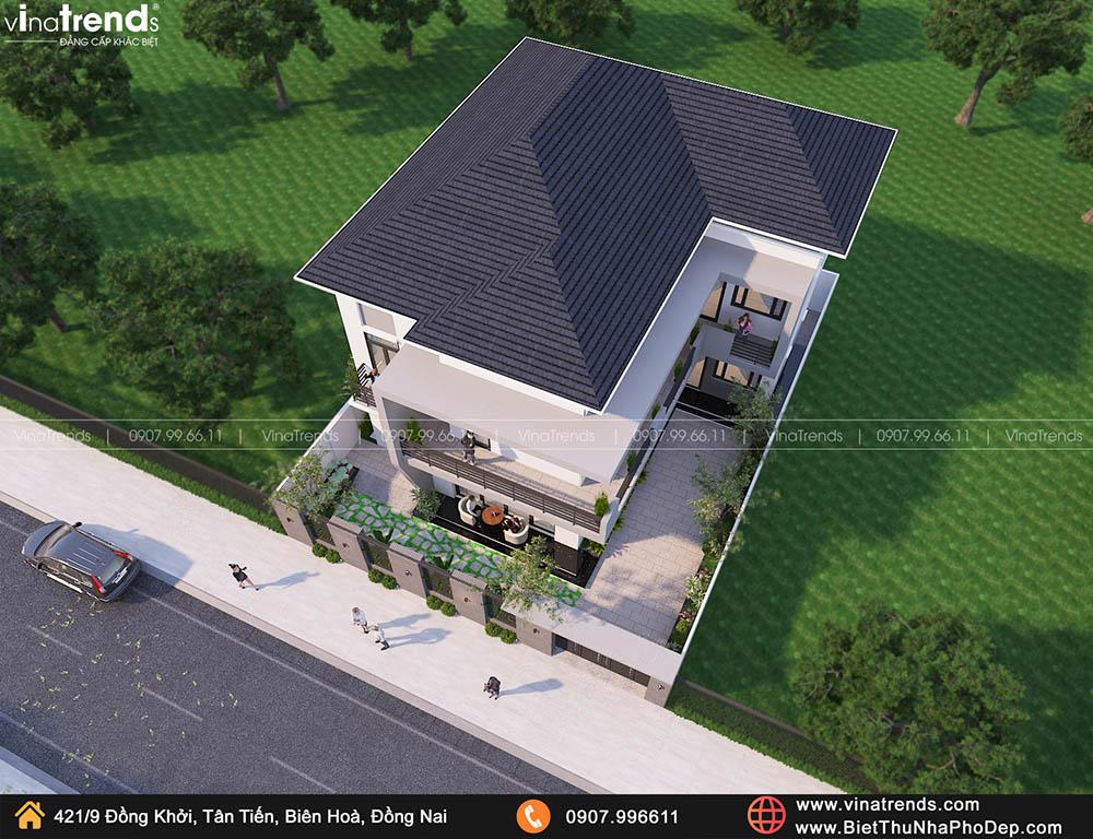ban ve biet thu 2 tang chu l dep Bản vẽ biệt thự 2 tầng mái Nhật 13x14m có 6 phòng ngủ tặng ba má ở tận Quảng Ngãi