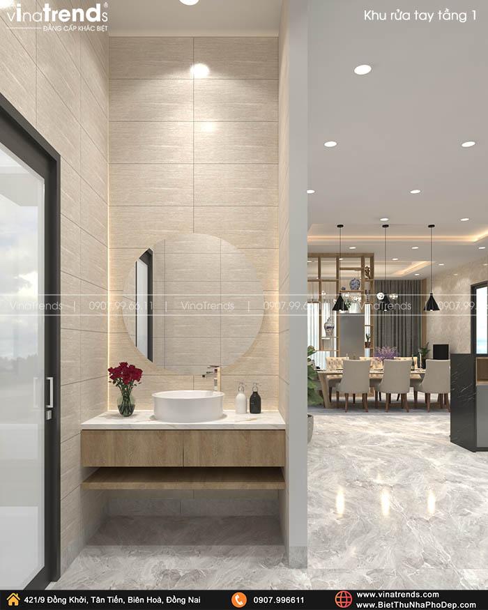 lavabo rua tay dep Bản vẽ biệt thự 2 tầng mái Nhật 13x14m có 6 phòng ngủ tặng ba má ở tận Quảng Ngãi