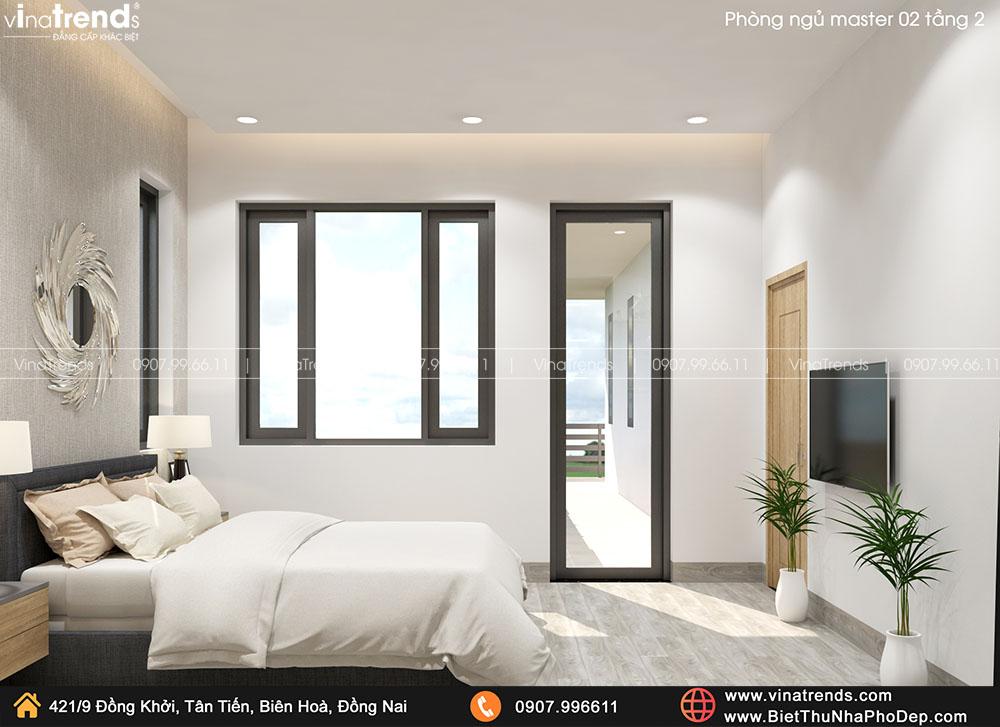 mau phong ngu master biet thu hien dai don gian ma dep 2 Bản vẽ biệt thự 2 tầng mái Nhật 13x14m có 6 phòng ngủ tặng ba má ở tận Quảng Ngãi