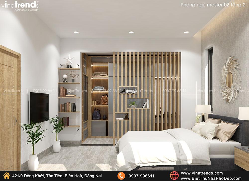 mau phong ngu master biet thu hien dai don gian ma dep 3 Bản vẽ biệt thự 2 tầng mái Nhật 13x14m có 6 phòng ngủ tặng ba má ở tận Quảng Ngãi