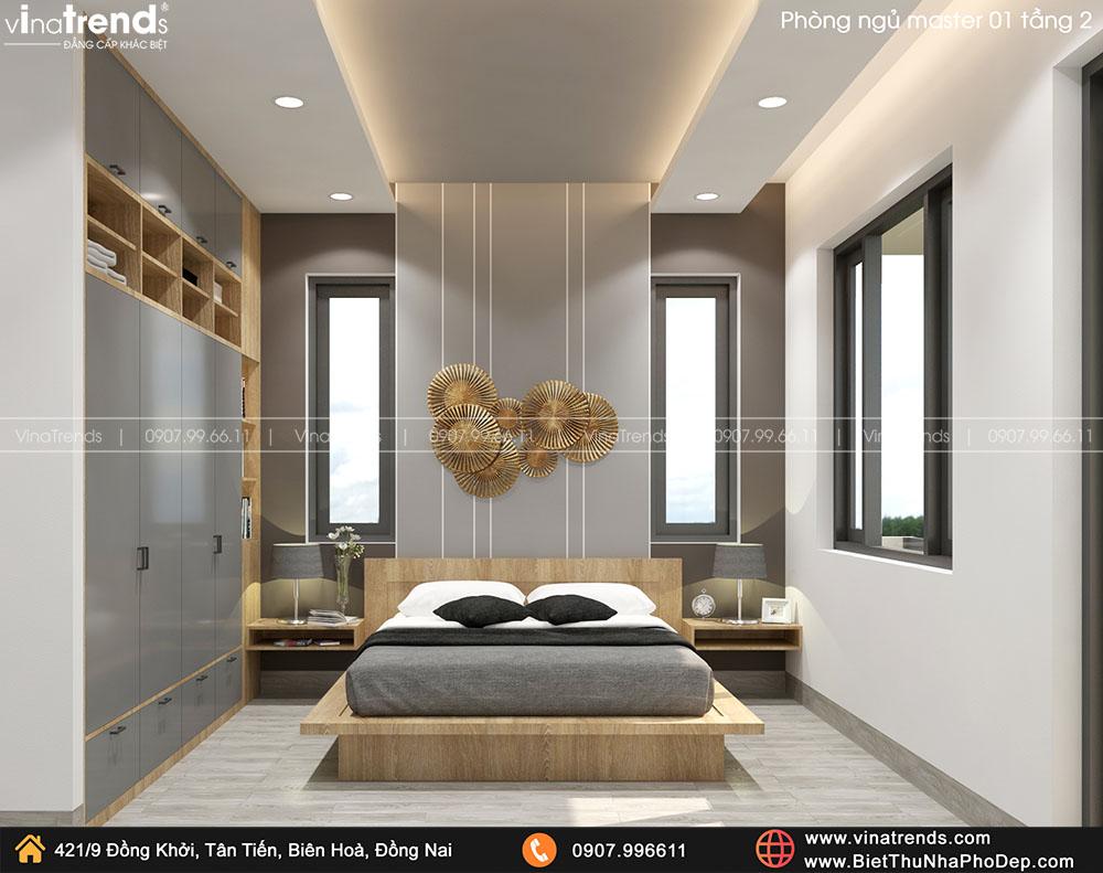 mau phong ngu master hien dai ma dep 1 Bản vẽ biệt thự 2 tầng mái Nhật 13x14m có 6 phòng ngủ tặng ba má ở tận Quảng Ngãi