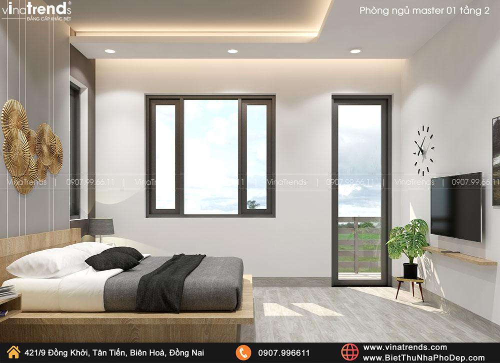 mau phong ngu master hien dai ma dep 2 Bản vẽ biệt thự 2 tầng mái Nhật 13x14m có 6 phòng ngủ tặng ba má ở tận Quảng Ngãi