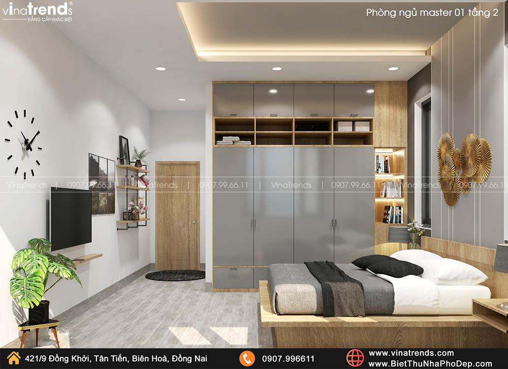 mau phong ngu master hien dai ma dep 3 Bản vẽ biệt thự 2 tầng mái Nhật 13x14m có 6 phòng ngủ tặng ba má ở tận Quảng Ngãi