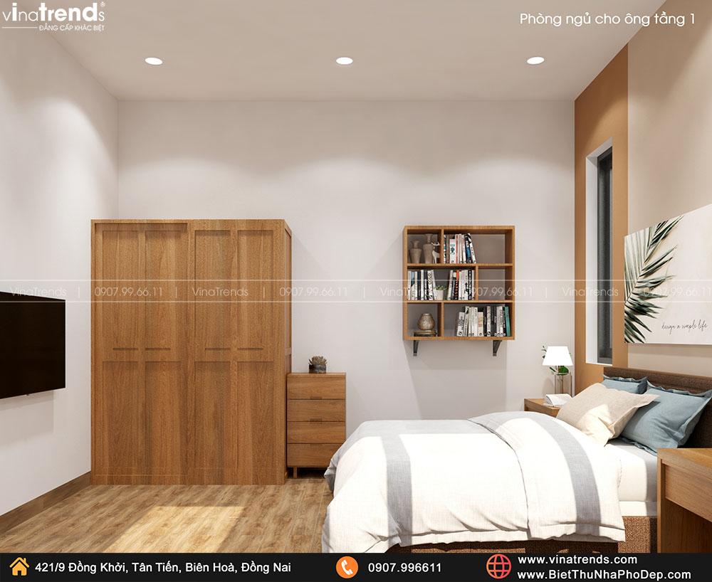 thiet ke phong ngu nguoi lon tuoi cho ong 2 Bản vẽ biệt thự 2 tầng mái Nhật 13x14m có 6 phòng ngủ tặng ba má ở tận Quảng Ngãi