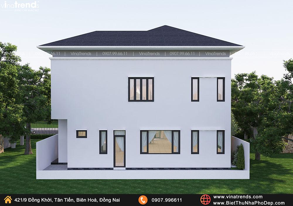 thiet ke san san mau biet thu 2 tang dep Bản vẽ biệt thự 2 tầng mái Nhật 13x14m có 6 phòng ngủ tặng ba má ở tận Quảng Ngãi