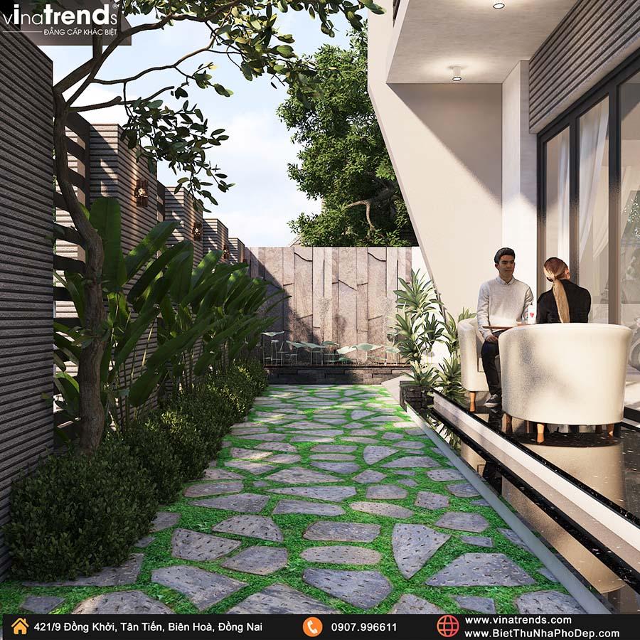 trong cay xanh cho biet thu hien dai o que dep Bản vẽ biệt thự 2 tầng mái Nhật 13x14m có 6 phòng ngủ tặng ba má ở tận Quảng Ngãi