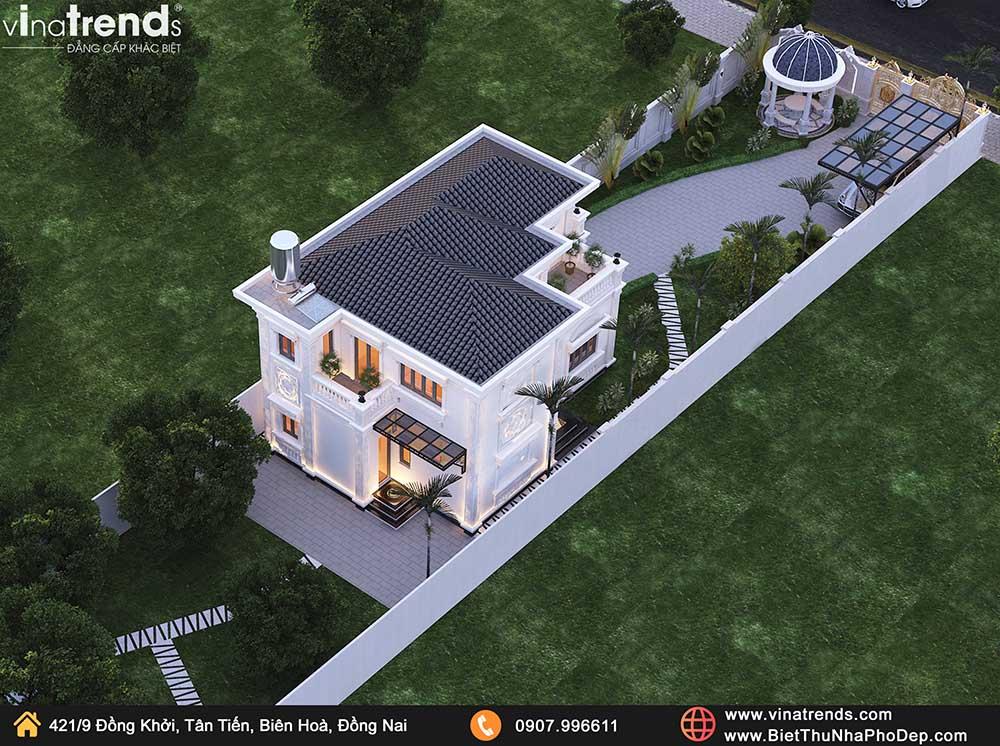 mau nha 2 tang tan co dien co san vuon dep Mẫu biệt thự 2 tầng tân cổ điển Pháp 9m dài 13m nằm giữa khu vườn làm mờ nhà hàng xóm