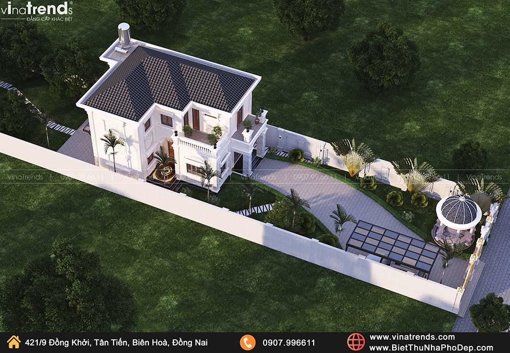 san vuon biet thu 2 tang tan co dien phap don gian dep Mẫu biệt thự 2 tầng tân cổ điển Pháp 9m dài 13m nằm giữa khu vườn làm mờ nhà hàng xóm