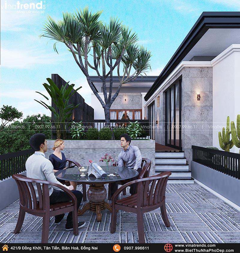 thiet ke san thuong dep mat Khát Khao Mẫu Biệt Thự Đẹp 2 Tầng 2 Mặt Tiền Rộng 500m2 phủ cây Xanh tuyệt đối ở Biên Hoà