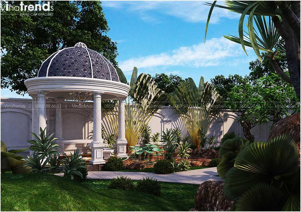 choi nghi ngoi cho biet thu co dien dep 1 Mẫu biệt thự 2 tầng tân cổ điển Pháp 9m dài 13m nằm giữa khu vườn làm mờ nhà hàng xóm