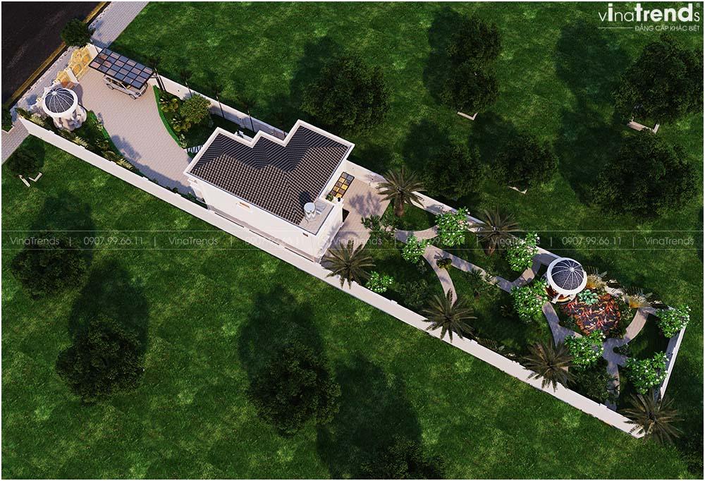 mau biet thu 2 tang co dien co san vuon dep mat ruou 1 Mẫu biệt thự 2 tầng tân cổ điển Pháp 9m dài 13m nằm giữa khu vườn làm mờ nhà hàng xóm