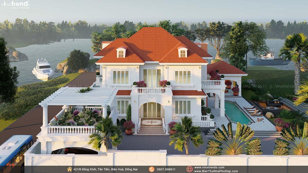 mau biet thu 2 tang co dien render dep nhat tung thay 2 Mẫu nhà biệt thự 2 tầng đẹp có hồ bơi 17x20m ngói đỏ chứng tỏ giàu sang của CEO ngành vận tải ở Bình Phước
