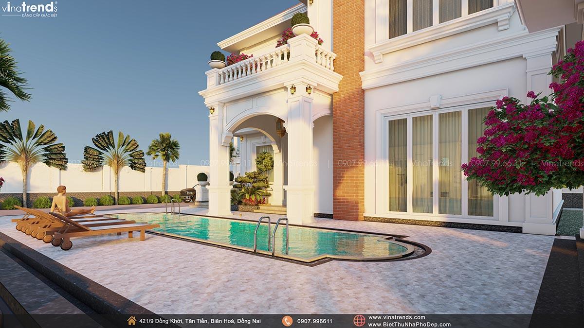 mau biet thu 2 tang dep phong cach dia trung hai co ho boi 2 Mẫu nhà biệt thự 2 tầng đẹp có hồ bơi 17x20m ngói đỏ chứng tỏ giàu sang của CEO ngành vận tải ở Bình Phước