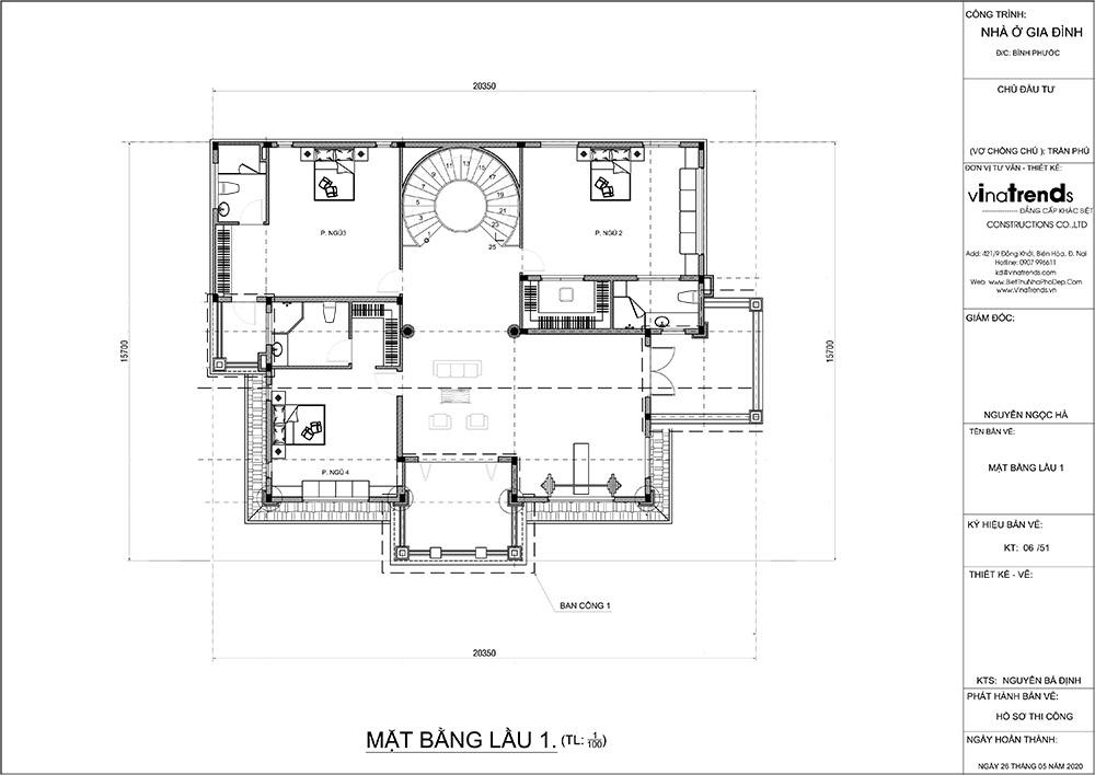 mau biet thu 2 tang mat bang tang 1 Mẫu nhà biệt thự 2 tầng đẹp có hồ bơi 17x20m ngói đỏ chứng tỏ giàu sang của CEO ngành vận tải ở Bình Phước