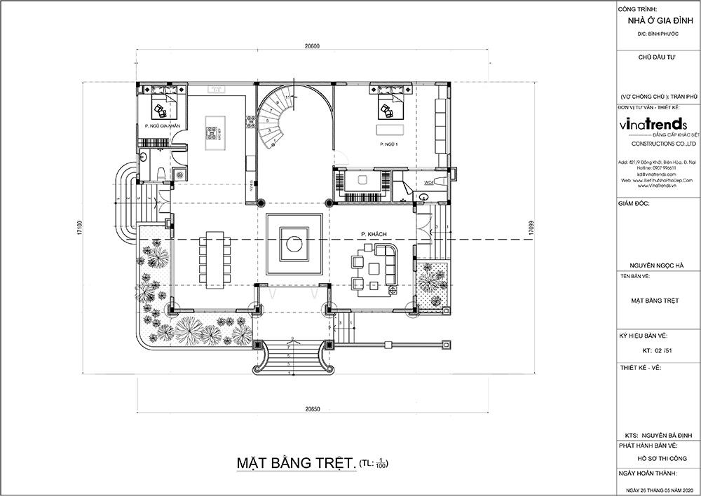 mau biet thu 2 tang mat bang tang tret Mẫu nhà biệt thự 2 tầng đẹp có hồ bơi 17x20m ngói đỏ chứng tỏ giàu sang của CEO ngành vận tải ở Bình Phước