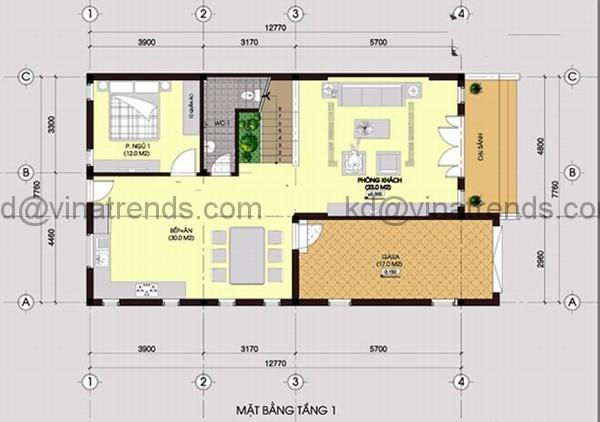 ban ve mat bang biet thu 105m2 209 Mê đắm mẫu thiết kế biệt thự 8x13m mặt tiền không gian xanh thoáng   BT120714A