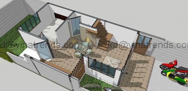 ban ve nghieng nha dep 5x19m 46 Mới lạ mẫu thiết kế nhà đẹp 8,2x13m độc đáo xinh xắn   ND010914A