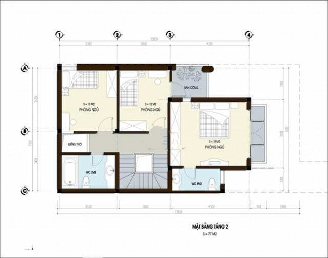ban ve nha dep 3 tang 9571 640x503 Độc đáo kiến trúc thiết kế nhà đẹp 3 tầng 7x14m2 mới   ND160814A