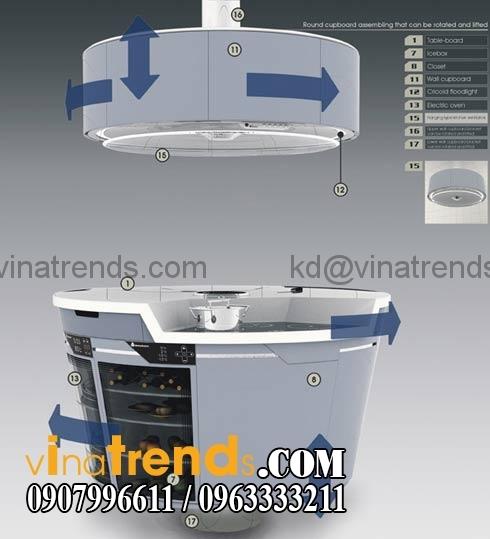 bep xoay dep hien dai hot nhat Độc đáo mẫu thiết kế nội thất bếp ăn đẹp xoay 2 tầng mới nhất   NTB300714A